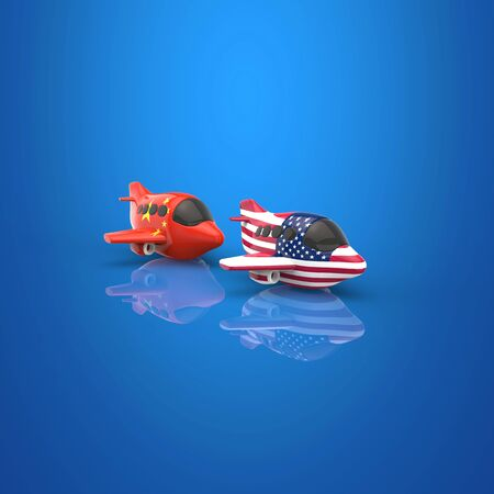 Plane and transport concept - 3D Illustration Stock Photo