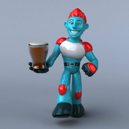 Red Robot - 3D Illustration Standard-Bild