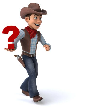 Fun Cowboy - 3D Illustration Stockfoto