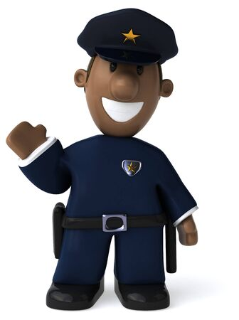 Fun policeman - 3D Illustration 写真素材 - 128590809