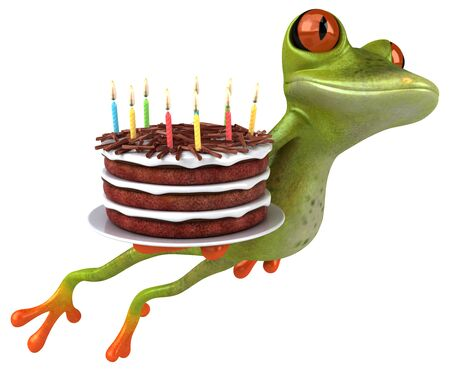 Fun frog with a birthday cake - 3D Illustration Imagens