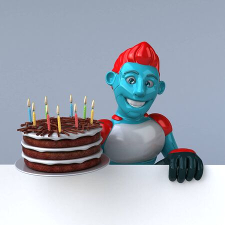 Red Robot - 3D Illustration 版權商用圖片