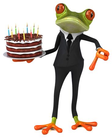 Fun frog with a birthday cake - 3D Illustration 版權商用圖片
