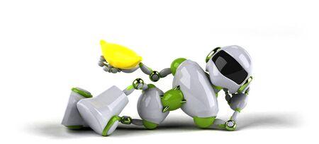 Green robot - 3D Illustration Standard-Bild - 128592327