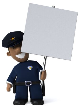 Fun policeman - 3D Illustration 写真素材 - 128716946