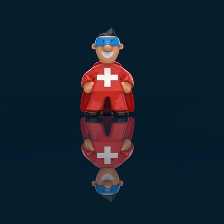 Superhero concept - 3D Illustration Banque d'images - 128716955