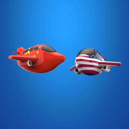 Plane and transport concept - 3D Illustration Stockfoto