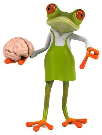Fun frog gardener - 3D Illustration Stock Photo