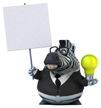 Fun zebra - 3D Illustration Stock Photo