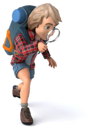 Man solo traveling backpacker - 3D Illustration