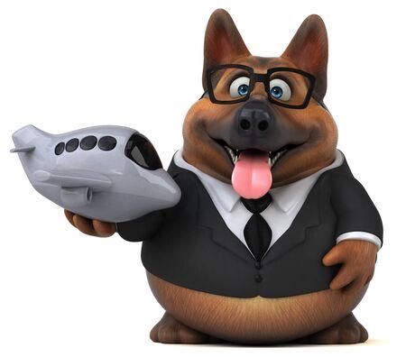 German shepherd dog - 3D Illustration Stok Fotoğraf