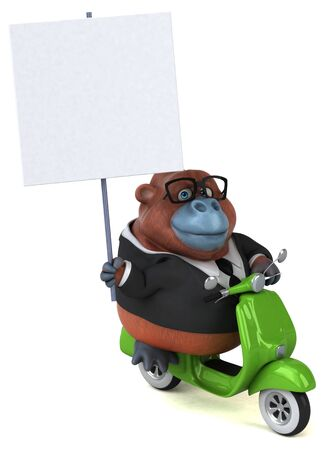 Fun orang outan - 3D Illustration Banque d'images - 129046600