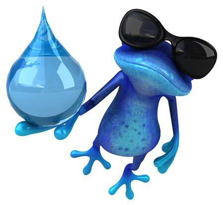 Fun blue frog - 3D Illustration