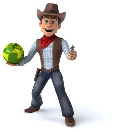 Fun Cowboy - 3D Illustration Imagens