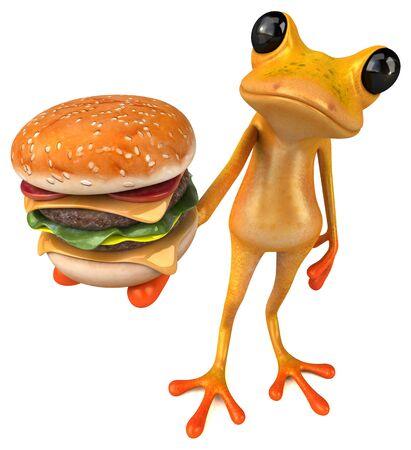 Fun yellow frog - 3D Illustration 스톡 콘텐츠