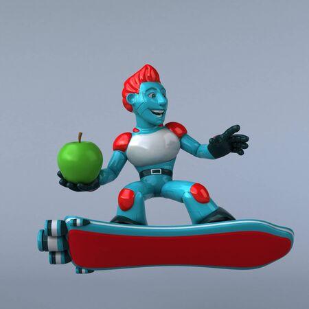Red Robot - 3D Illustration Stok Fotoğraf