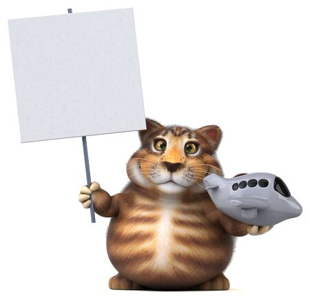 Fun cat - 3D Illustration Фото со стока - 129124457