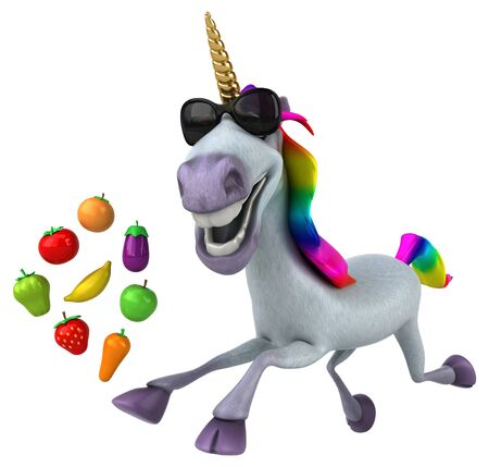 Fun unicorn - 3D Illustration Stockfoto