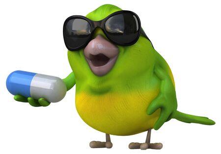 Fun green bird - 3D Illustration Imagens