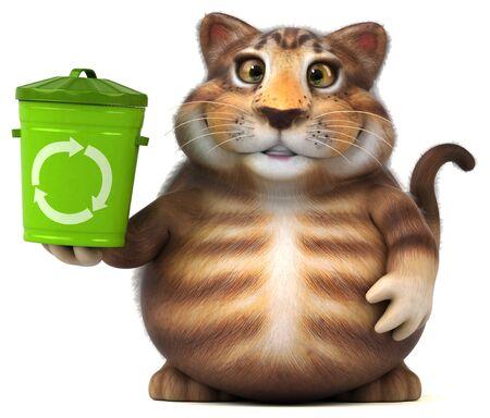 Fun cat - 3D Illustration Фото со стока - 129232246