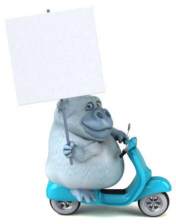 Fun white gorilla - 3D Illustration Stok Fotoğraf