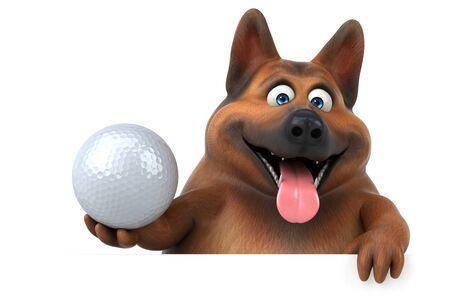 Fun german shepherd dog - 3D Illustration Stok Fotoğraf