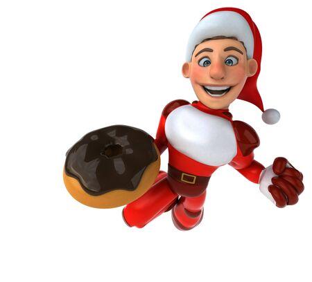 Fun Super Santa Claus - 3D Illustration Banque d'images - 130802730