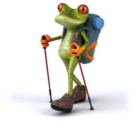 Fun backpacker frog - 3D Illustration Stock Photo