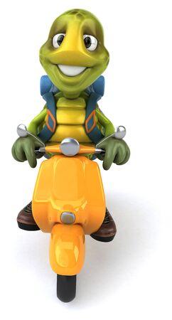 Fun turtle traveling - 3D Illustration Фото со стока