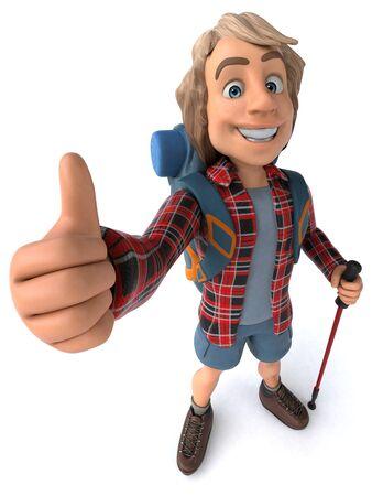 Fun backpacker with walking sticks - 3D Illustration