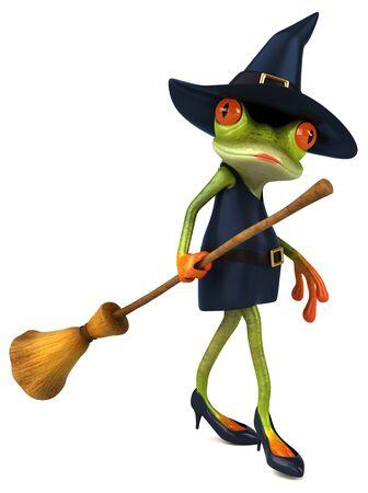 Witch frog - 3D Illustration Фото со стока