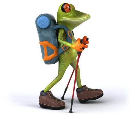 Fun backpacker frog - 3D Illustration Фото со стока
