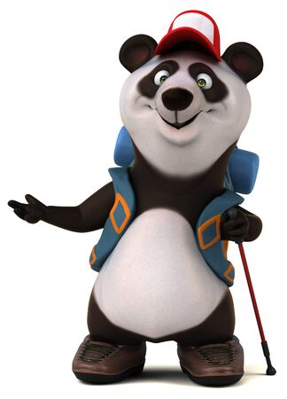 Fun 3D panda backpacker cartoon character