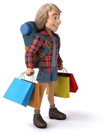 Hombre mochilero que viaja solo - Ilustración 3D