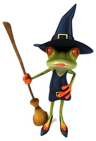 Witch frog - 3D Illustration Stock Photo