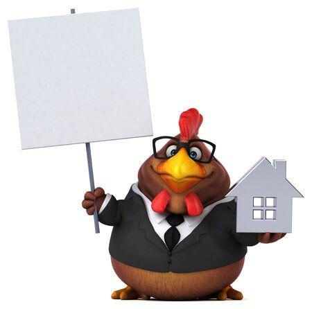 Fun chicken - 3D Illustration Reklamní fotografie - 130805106