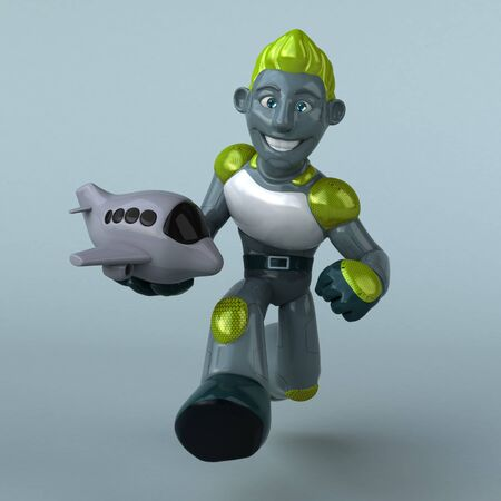 Green Robot - 3D Illustration Banque d'images - 130804991