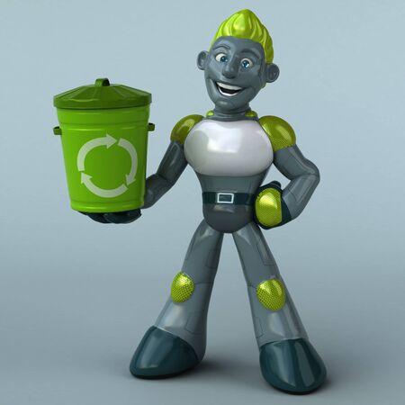 Green Robot - 3D Illustration Banque d'images - 130804871
