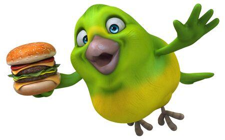 Fun green bird - 3D Illustration Reklamní fotografie