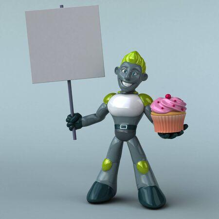 Green Robot - 3D Illustration Banque d'images - 130804657