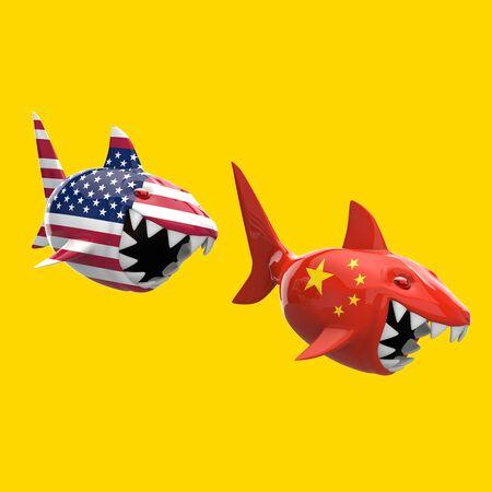 Shark concept - 3D Illustration 版權商用圖片