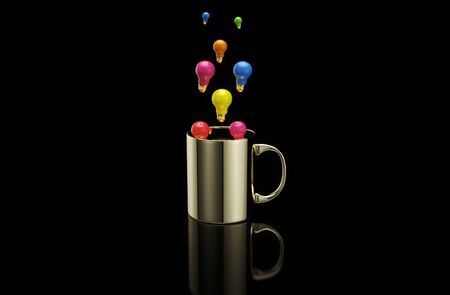 Concept of a hot cup of coffee with lightbulbs Stok Fotoğraf - 130804573