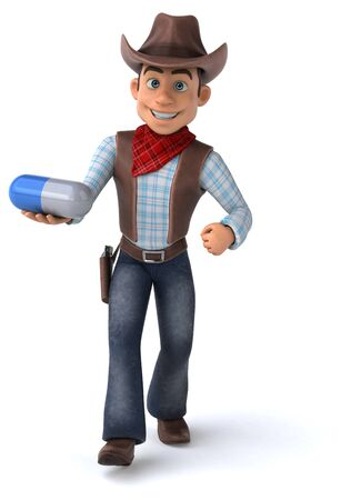 Fun Cowboy - 3D Illustration Stock fotó