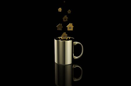 Concept of a hot cup of coffee with houses Stok Fotoğraf - 130803187