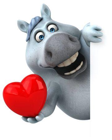 Fun horse - 3D Illustration Banco de Imagens