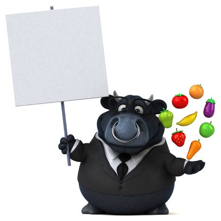 Black bull - 3D Illustration Banco de Imagens