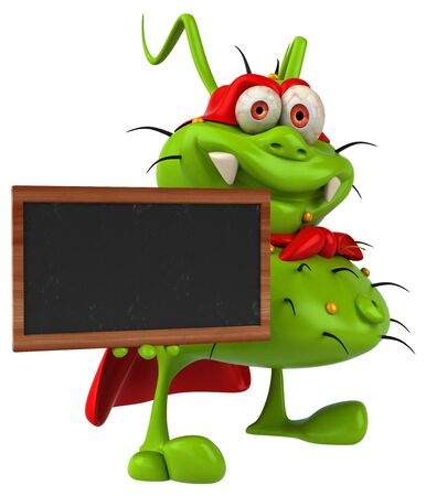 Fun 3D germ monster holding a blackboard