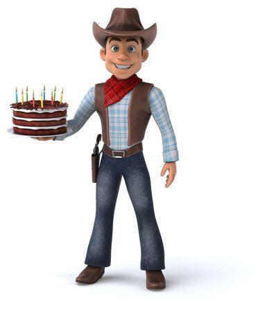 Fun Cowboy - 3D Illustration 版權商用圖片