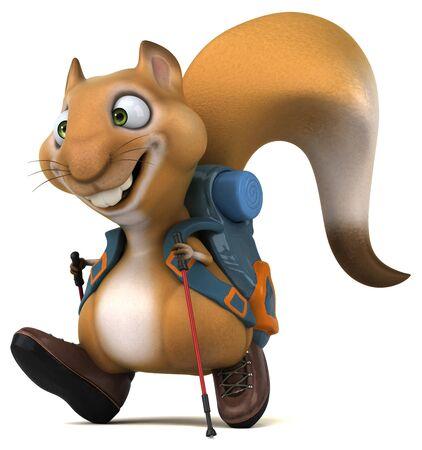 Fun 3D squirrel backpacker cartoon character 写真素材