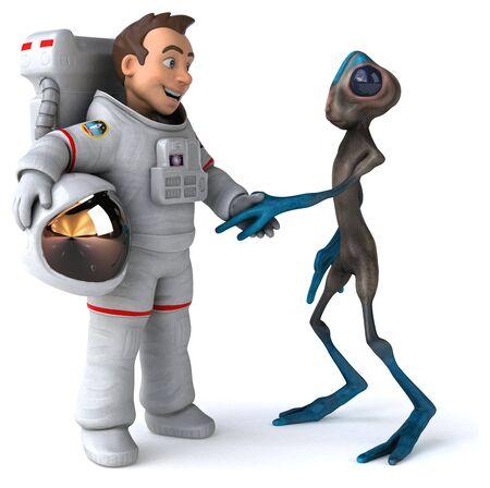 Fun astronaut meeting an alien